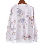 cheap Letter and Floral Loose Sweatshirt