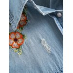 Long Sleeve Embroidered Ripped Denim Shirt deal