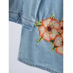Long Sleeve Embroidered Ripped Denim Shirt photo