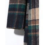 best Double Breasted Lapel Plaid Wool Blend Coat
