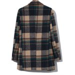 cheap Double Breasted Lapel Plaid Wool Blend Coat