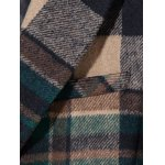 Double Breasted Lapel Plaid Wool Blend Coat for sale