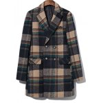 Double Breasted Lapel Plaid Wool Blend Coat