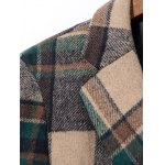 Double Breasted Lapel Plaid Wool Blend Coat deal
