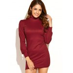 Turtleneck Ribbed Knit Sweater Dress