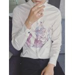 Long Sleeve Chinese Painting Printed Shirt deal