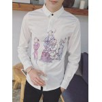 cheap Long Sleeve Chinese Painting Printed Shirt