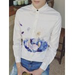Long Sleeve Floral Wash Painting Printed Shirt deal