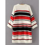 cheap Knitted Colorful Striped Loose Dress