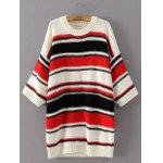 Knitted Colorful Striped Loose Dress