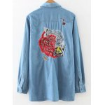 cheap Embroidered Loose Denim Shirt