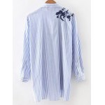 cheap High-Low Embroidered Striped Shirt