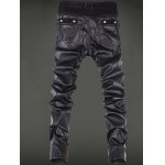 cheap Zippered Rivet Embellished Leather Patchwork Pants