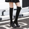 cheap Platform PU Leather Zip Thigh Boots