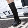 Platform PU Leather Back Zip Thigh Boots for sale