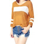 cheap High Low Color Block Loose Sweater