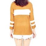 High Low Color Block Loose Sweater for sale