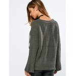 best V Neck Long Sleeve Lace Up Sweater