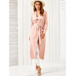cheap Draped Belted Duster Coat