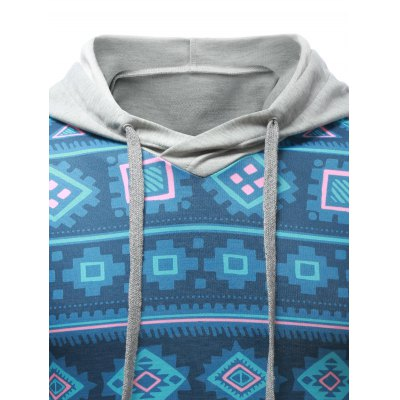 Geometric Print Splicing Pullover HoodieMens Hoodies &amp; Sweatshirts<br>Geometric Print Splicing Pullover Hoodie<br><br>Material: Cotton Blends<br>Clothing Length: Regular<br>Sleeve Length: Full<br>Style: Casual<br>Weight: 0.650kg<br>Package Contents: 1 x Hoodie