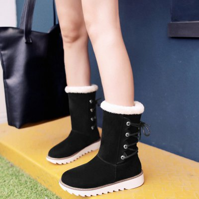 Flock Tie Up Flat Heel Snow BootsWomens Boots<br>Flock Tie Up Flat Heel Snow Boots<br><br>Gender: For Women<br>Boot Type: Snow Boots<br>Boot Height: Mid-Calf<br>Boot Tube Height: 19CM<br>Boot Tube Circumference: 31CM<br>Toe Shape: Round Toe<br>Heel Type: Flat Heel<br>Heel Height Range: Low(0.75-1.5)<br>Closure Type: Lace-Up<br>Shoe Width: Medium(B/M)<br>Pattern Type: Solid<br>Upper Material: Flock<br>Weight: 1.120kg<br>Season: Winter<br>Platform Height: 2CM<br>Heel Height: 3.5CM<br>Package Contents: 1 x Boots (pair)