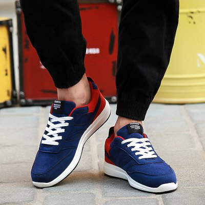 Colour Spliced Tie Up Suede Casual Shoes