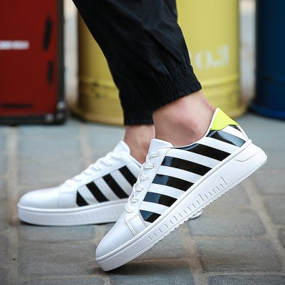 PU Leather Striped Pattern Tie Up Casual Shoes