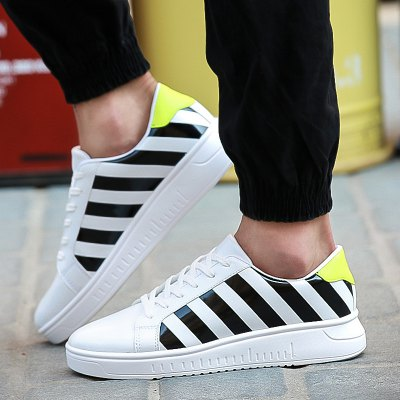 PU Leather Striped Tie Up Casual Shoes