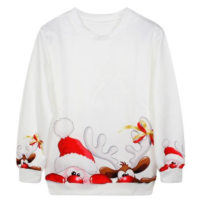 Christmas Cartoon Santa Claus Print Sweatshirt