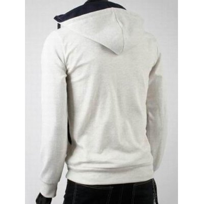 Double Zipper Design Hooded Long Sleeve Fleece Hoodie