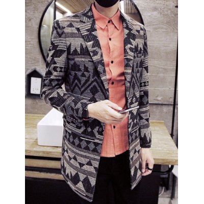 Geometric Pattern Lapel Single-Breasted Wool CoatMens Jackets &amp; Coats<br>Geometric Pattern Lapel Single-Breasted Wool Coat<br><br>Clothes Type: Wool &amp; Blends<br>Style: Fashion<br>Material: Polyester,Wool<br>Collar: Turn-down Collar<br>Clothing Length: Long<br>Sleeve Length: Long Sleeves<br>Season: Fall,Winter<br>Weight: 1.350kg<br>Package Contents: 1 x Coat