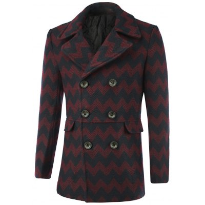 Double-Breasted Geometric Wave Wool Coat
