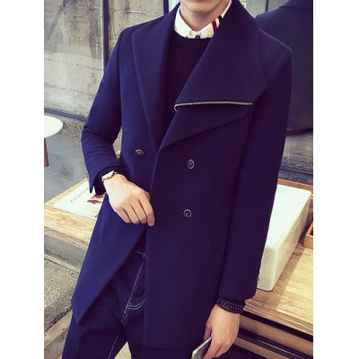 Double-Breasted Button Wool Coat