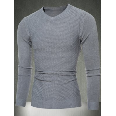 V-Neck Sweater in Textured Knit