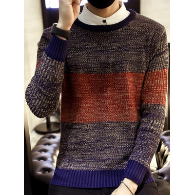 Round Neck Color Block Ribbed Knitted Sweater