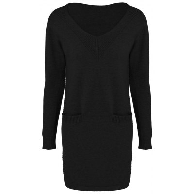 Double Pocket V Neck Knit Dress