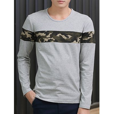 Crew Neck Camouflage Splicing Long Sleeve T-Shirt