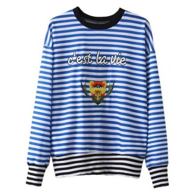 Patched Striped Sweatshirt