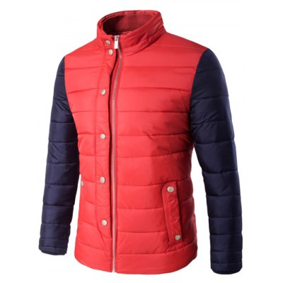 Snap Button Zip Up Two Tone Quilted Jacket