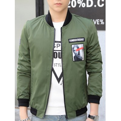 Zip-Up Graphic Patch Bomber Jacket