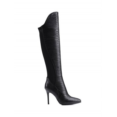 Splicing Ruched Pointed Toe Thigh Boots