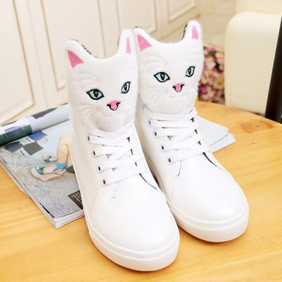 Cartoon Cat Lace-Up PU Leather Boots