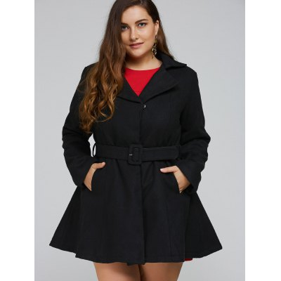 Plus Size Lapel Belted Fit and Flare Coat