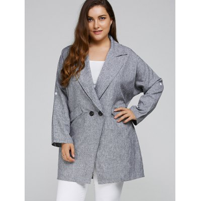Plus Size Loose Fit Heather Cocoon Coat