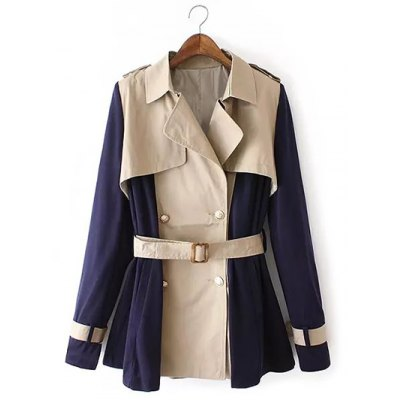 Two Tone Belted Trench Coat