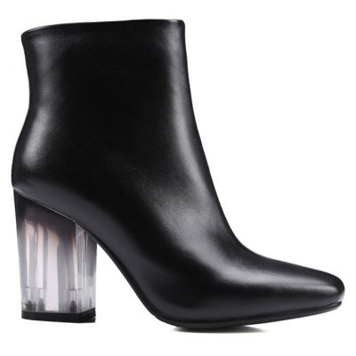Square Toe Clear Heel Zipper Ankle Boots