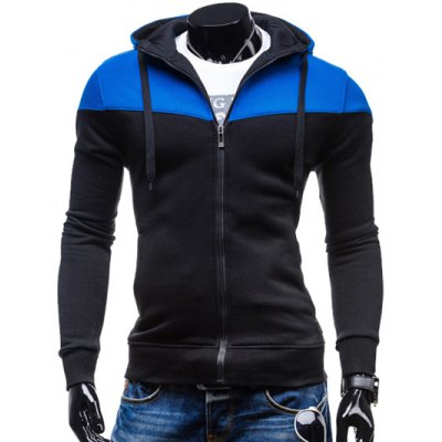 Color Block Splicing Design Hooded Long Sleeve Zip-Up Hoodie