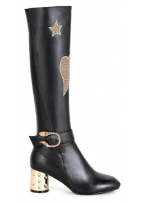 Buckle Heart Pattern Embroidery Knee-High Boots