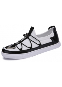 Metal Stretch Fabric Cross Straps Casual Shoes