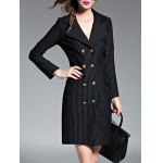 cheap Striped Double-Breasted Coat